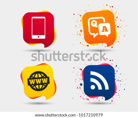 Question answer icon.  Smartphone and Q&A chat speech bubble symbols. RSS feed and internet globe signs. Communication Speech bubbles or chat symbols. Colored elements. Vector