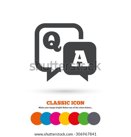 Question answer sign icon. Q&A symbol. Classic flat icon. Colored circles. Vector