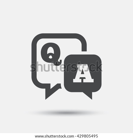 Question answer sign icon. Q&A symbol. Flat question answer web icon on white background. Vector