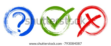 Question, approval tick and rejection cross check marks, query, x and ok symbol signs, survey, quiz, decision making reply icons, options in check boxes. Checklist marks tick and cross, question sign.