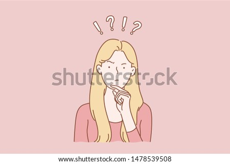 Question, brainstorm, thinking concept of dream young nice pretty cute woman or girl, indecisive lady thought choose decide dilemmas solve problems finding new ideas. Simple flat vector.