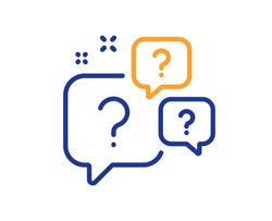 Question bubbles line icon. Ask help sign. Faq questionnaire symbol. Quality design element. Line style question bubbles icon. Editable stroke. Vector
