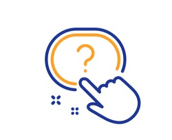 Question button line icon. Ask help sign. Faq questionnaire symbol. Quality design element. Line style question button icon. Editable stroke. Vector