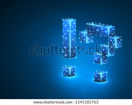 Question, exclamation marks abstract neon 3d illustration. Polygonal Vector business concept of faq, idea, answer. Low poly wireframe, geometry triangle, lines, dots, polygons on blue background