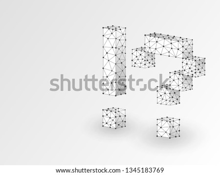 Question, exclamation marks abstract origami 3d illustration. Polygonal Vector business concept of faq, idea, answer. Low poly wireframe, geometry triangle, lines, dots, polygons on white background