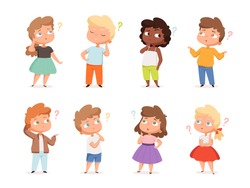 Question expression kids. Little genius high iq teenagers with question marks thinking vector illustrations