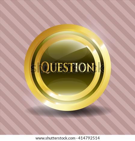 Question gold emblem