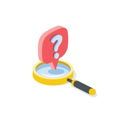 Question help search magnifier label. Vector 3d isometric, color web icon, new flat style. Creative illustration design, graphic idea for infographics.