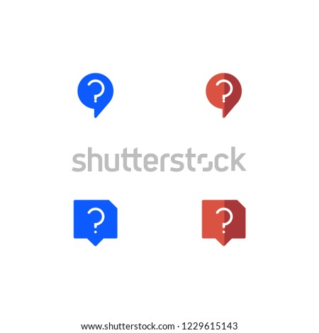Question Icon Set. Flat Style. Line Style. Solid Style