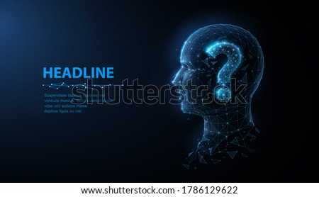 Question in head. Abstract vector 3d illustration question mark in human head icon. Ask and ansver faq, support asking, problem or confusion, thinking, unknown person concept