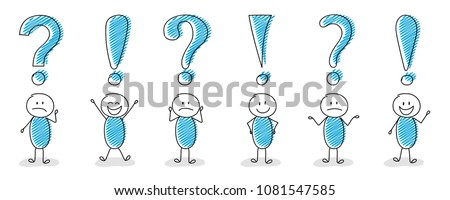 Question mark and exclamation point icons with hand drawn stickmen - big collection. Vector.