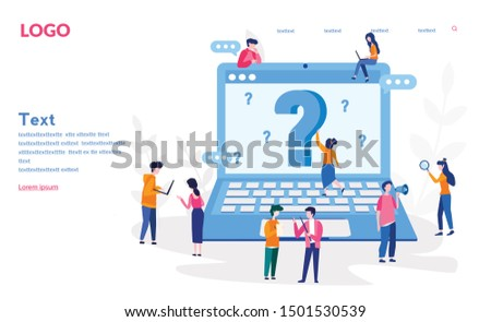 Question mark. Business people asking questions around a huge question mark in computer . Vector illustration.for web banner, infographics, mobile website. Landing page template.