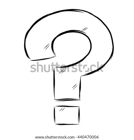Question mark / cartoon vector and illustration, black and white, hand drawn, sketch style, isolated on white background.