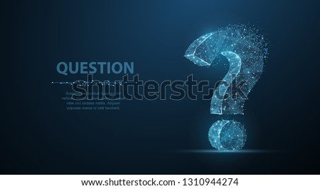 Question mark. 3d abstract vector on dark blue background with dots and stars. Ask symbol. Help support, faq problem symbol, think education concept, confusion search illustration or background