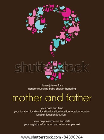 Question Mark Gender Revealing Baby Shower Invitation