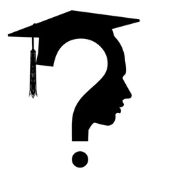 Question mark head with Graduation Cap icon isolated on white. Educated student concept, vector