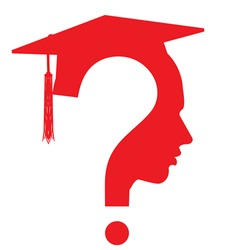 Question mark head with Graduation cap symbol isolated on white. Student icon, vector