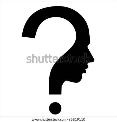 Question mark human head symbol isolated on white, vector