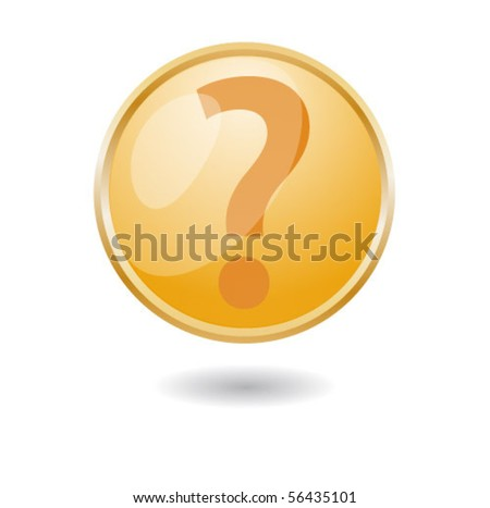 Question Mark Icon Button - stock vector