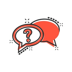 Question mark icon in comic style. Discussion speech bubble vector cartoon illustration pictogram. Question business concept splash effect.
