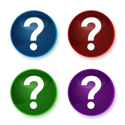 Question mark icon isolated on shiny round buttons set illustration