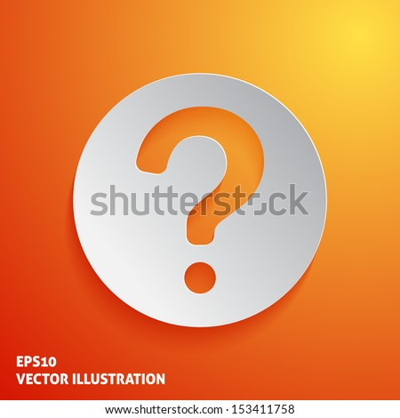 Question mark icon on orange background. Vector illustration