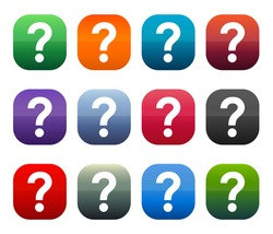 Question mark icon shiny square buttons set illustration design isolated on white background