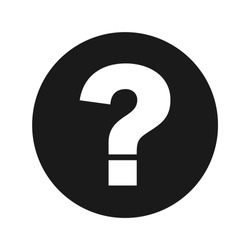 Question mark icon vector illustration design isolated on flat black round button