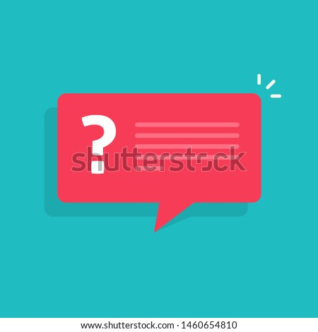 Question mark notification bubble speech vector notice sign, flat cartoon question or answer message balloon icon or pictogram isolated