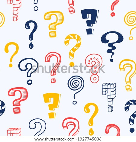 Question mark pattern. Doodle seamless texture mockup with colorful interrogation symbols. Creative hand drawn isolated repeated asking signs. Vector punctuation icon consisting of dot and curved line Foto stock ©