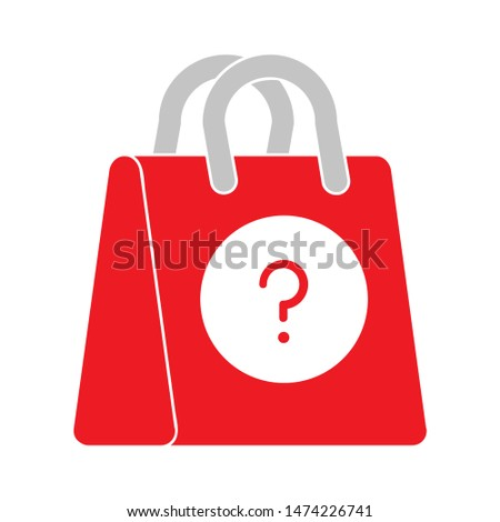 question mark shopping bag icon. flat illustration of question mark shopping bag vector icon. question mark shopping bag sign symbol