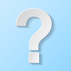 Question mark symbol isolated on blue background. Vector.