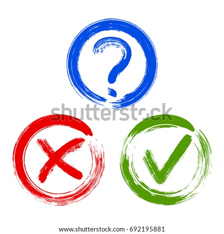 Question mark, symbolic X and OK choice icons in black round frames. Query, cross and tick signs, check marks graphic design. Question, rejection and approval symbol vector for vote, election choice.