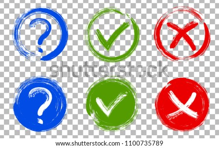 Question mark, symbolic X and OK choice icons in round frames. Query, cross and tick signs, check marks set graphic design. Question, rejection and approval symbol vector for vote, election choice.
