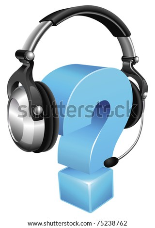 Question mark wearing a phone headset concept for call centre or online support