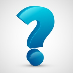 Question mark with blue color, 3D design vector