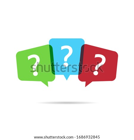 Question mark with color speech bubbles. FAQ sign in white background.