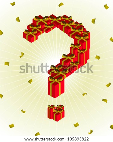 question mark with gift box