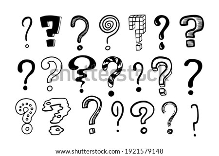 Question marks. Doodle hand drawn isolated set of interrogation signs, graphic inky punctuation icons. Vector collection of black and white asking symbols for expressing misunderstandings and doubts Foto stock ©