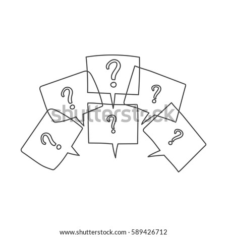 Question marks in thought bubbles. Hand drawn line art cartoon vector illustration on white background.