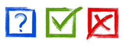 Question, red X and green tick check marks, approval signs design. Red X and green OK symbol icons in square check boxes. Check list marks, choice options, test, quiz or survey signs.