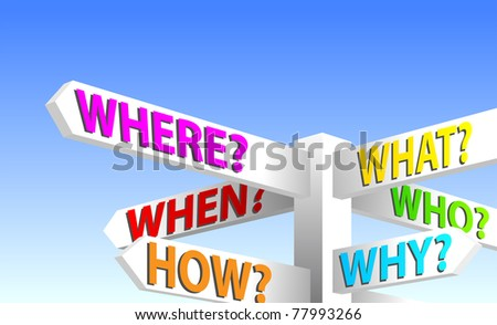 Question Sign Post. Who, What, When, Where, How, Why