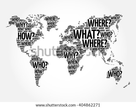 question words world map in