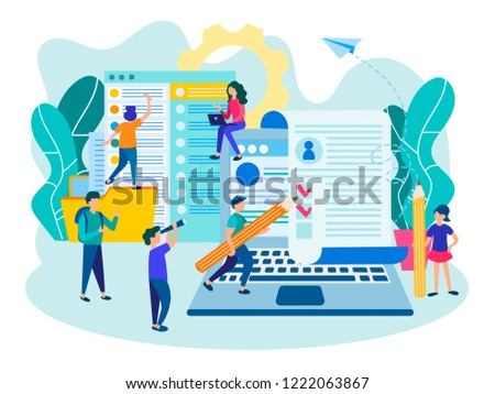 Questioning and filling out forms concept. People fill out a form online, application form for employment, people select a resume for a job for web page.  #1222063867