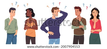 Questioning people men, women in doubt thinking with question marks over scratching head. Confused thoughtful persons, touching chin, pondering. Confusion, contemplation set flat vector illustration
