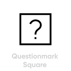 Questionmark square flat icon. Editable vector outline. Single pictogram. Symbol for riddle, puzzle, support. Thin line sign interrogation mark in quadratic isolated on white background.