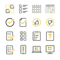 Questionnaire and Survey vector illustration icon set. Included the icons as list, feedback, comment, customer reviews, internet, opinion and more.