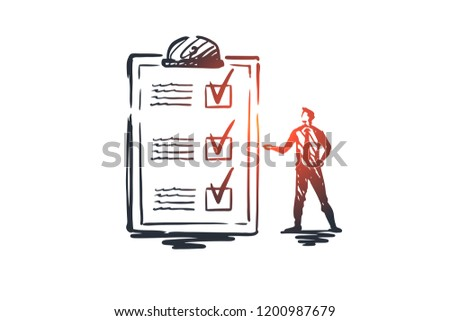 Questionnaire, form, test, checklist, survey concept. Hand drawn person and survey form concept sketch. Isolated vector illustration.