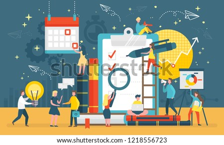 Questionnaire survey for people to give answer vector. Workers with magnifying glass, pen and bulb, creating list of questions. Gears and calendar