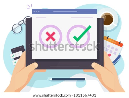 Questionnaire survey poll vote digital quiz online tablet computer pc vector, concept of person choosing yes no answer, making decision, right and wrong, checkboxes on screen in hands flat ストックフォト ©